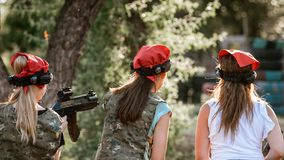 Girls on lasertag polygon Royalty Free Stock Photography
