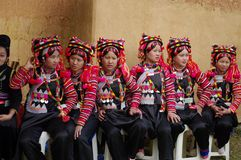 Young girls Ha Nhi ethnicity. Group of young girls from ethnic IHN in costume at an event at the Ethnological Museum in Hanoi Royalty Free Stock Photography