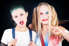 Young Girls with Halloween Makeup. Portrait of Two Children Royalty Free Stock Image