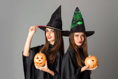 Young girls in halloween style clothes Stock Photo