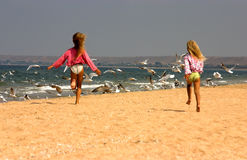 Young girls happily running towards seagulls Stock Photos