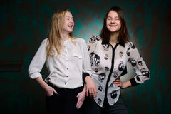 Young girls have fun in studio. Two young girls have fun in studio Stock Image