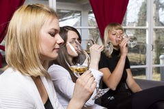 Young girls having dinner in fancy restaurant Royalty Free Stock Image