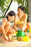 Young Girls Having Fun At The Beach Royalty Free Stock Photography