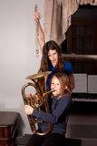 Young girls with instruments Stock Images