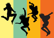 Young girls jumping into the air. Vector silhouettes af happy young girls jumping into the air on colorful striped background Stock Image