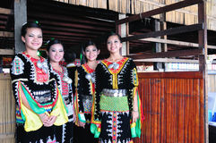 Young girls from Kadazandusun tribe in their traditional costume Royalty Free Stock Photography