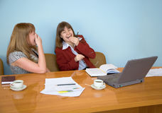 Young girls laugh stock photography