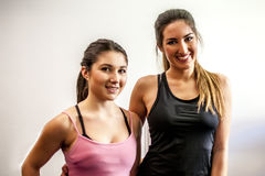 Young girls making fitness Royalty Free Stock Photos