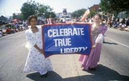 Young Girls Marching in July 4th Parade, Pacific Palisades, California Royalty Free Stock Photo