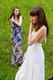 Young girls on the meadow Royalty Free Stock Photo