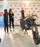 Young girls at moto concept. Royalty Free Stock Photography