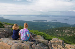 Young girls overlooking Bar Harbor Royalty Free Stock Image