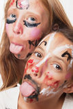 Young girls with painted face Royalty Free Stock Images