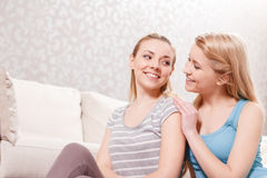 Young girls at pajama party Royalty Free Stock Photos
