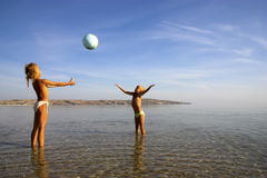 Young girls playing ball Stock Photos