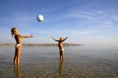 Young girls playing ball Stock Photos