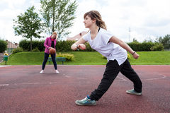 Young girls are playing basketball Royalty Free Stock Photos
