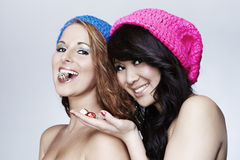 Young girls posing in studio Royalty Free Stock Photography