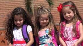 Young girls preschool kids. Three young female preschool children stock video