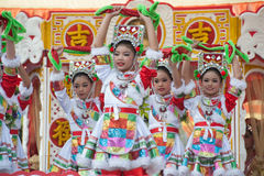 Young girls provide music for dance on the parade. Stock Photo
