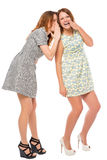 Young girls quietly secretive on a white. Background royalty free stock photography