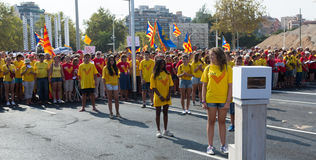 Young girls at rally demanding independence for Catalonia Stock Photo