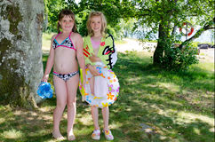 Young girls ready to swim Stock Image