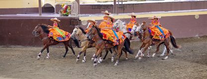 Female riders in orange dresses stock image
