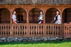 Young girls with Romanian traditional costume royalty free stock photography