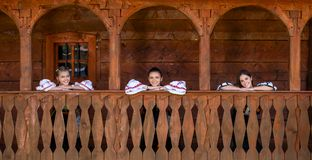 Young girls with Romanian traditional costume. Apuseni mountains , Alba county stock photos