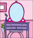 Young girls room hand drawn vector. Hand drawn vector illustration of a young girls room with dressing table, mirror and plants Royalty Free Stock Photos