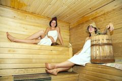 Young girls  at sauna Royalty Free Stock Images