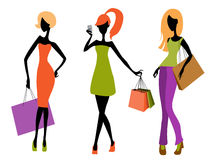 Young girls shopping. Vector illustration of a three young girls shopping Stock Photo