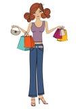 Young girls at shopping Royalty Free Stock Image
