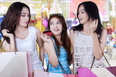Young girls shopping together Royalty Free Stock Image