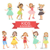 Young Girls Singing In Karaoke. Bright Color Cartoon Simple Style Flat Vector Set Of Stickers  On White Background Royalty Free Stock Photos