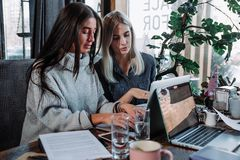 Young girls sitting in cafe using laptop . Girl showing her friend something on laptop. Stock Photo