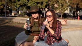 Young girls are sitting in the park, they say, have fun and eat, eat a sandwich. Fun, laughter, holiday stock video footage