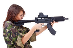 Young girls soldiers with guns Stock Images