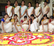YOUNG GIRLS FOR SOUTH INDIAN FESTIVEL ONAM Stock Photos