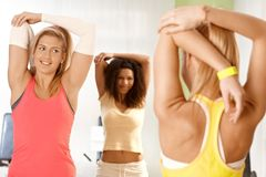 Young girls stretching at gym Stock Image