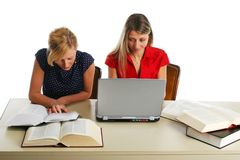 Young girls studying Royalty Free Stock Photos