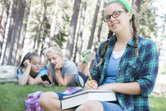 Young Girls Studying Stock Image