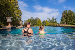 Young Girls Sitting Water Pool Stock Photography