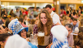 Young girls toast with beer stock photos