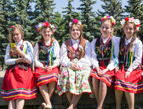 Young Girls in Traditional Russian Costume Stock Images