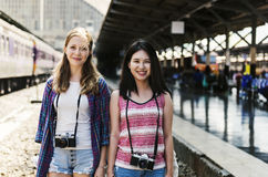 Young Girls Travel Holiday Concept Royalty Free Stock Photography