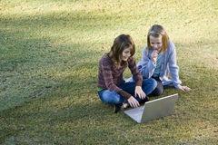 Young girls using laptop on grass Royalty Free Stock Photos