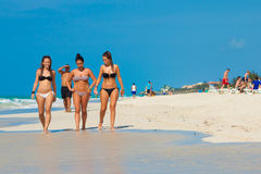 Young girls  at Varadero beach in Cuba Royalty Free Stock Photo
